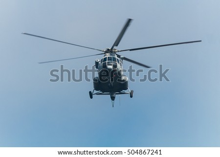 Russian military transport helicopter in the air