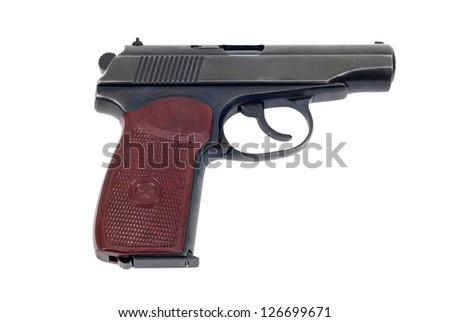 Russian 9mm handgun isolated on white background