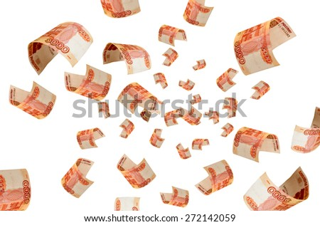 Russian money falling from the air. - stock photo