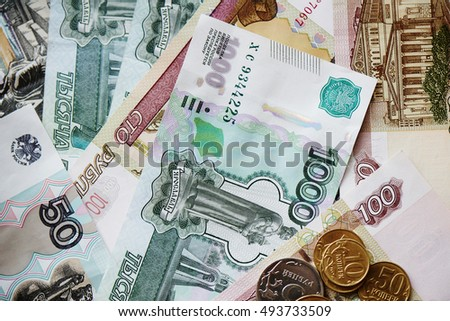Russian money, iron coins and paper money closeup