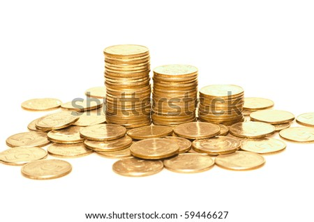 Russian money toned in gold isolated on white