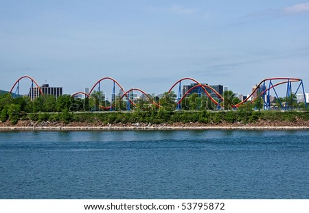 Russian Mountain of Attraction Park of Montreal - stock photo