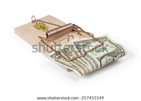Russian mouse trap with dollar bills isolated over white with clipping path. - stock photo