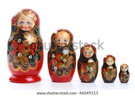 "Russian nested dolls, also known as matryoshka, ""matryoshka principle"" or ""nested doll principle"". - stock photo"