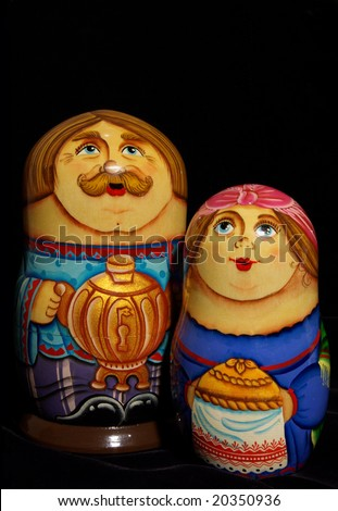Russian nested dolls family, handmade and hand painted