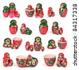 Russian nesting dolls, collection on white background - stock photo