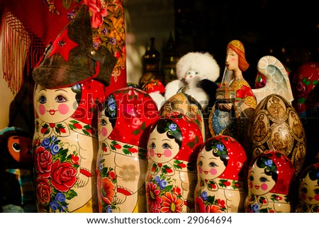 Russian nesting dolls (matryoshka ) - stock photo