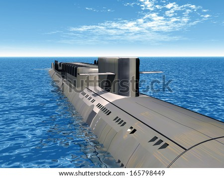 Russian Nuclear Submarine Computer generated 3D illustration - stock photo
