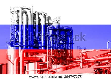 Russian oil, oil industry of the Russian flag in the double exposure - stock photo