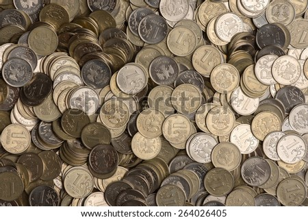 Russian one ruble coins background in silver color - stock photo