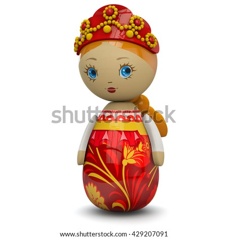 Russian or East European girl wooden doll toy painted in traditional style. Isolated on white and including clipping path for easy selection.