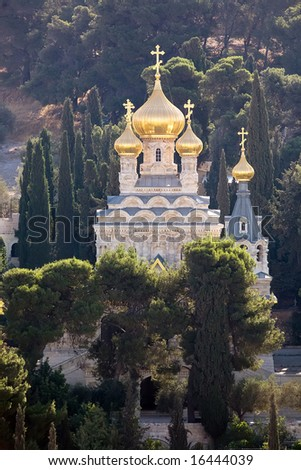 Russian Orthodox Church of St. Mary Magdalene in Jerusalem - stock photo