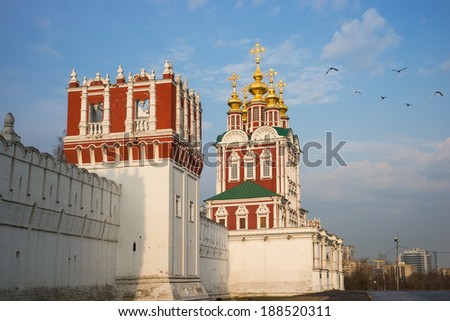 Russian orthodox churches in Novodevichy Convent monastery, Moscow, Russia. - stock photo