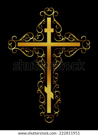 russian orthodox cross in gold - stock photo