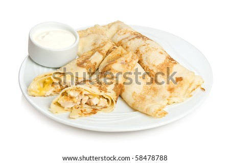 Russian pancakes with chicken