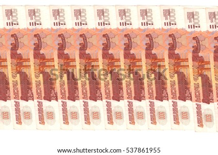 Russian paper banknotes 5000 rubles isolated on white background