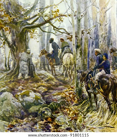 "Russian partisans in the woods -  illustration by artist A.P. Apsit from book ""Leo Tolstoy ""War and world"", publisher - ""Partnership Sytin"", Moscow, Russia, 1914. - stock photo"