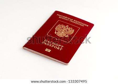 Russian passport on white background - stock photo