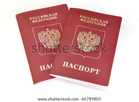 Russian passports isolated on white background