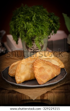 Russian pasties with dill green. - stock photo