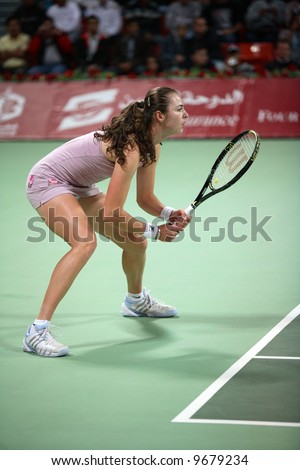 Russian player Galina Voskoboeva playing against Maria Sharapova at the Qatar Total Open in Doha, February 20, 2008.