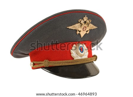 Russian police officer cap - stock photo