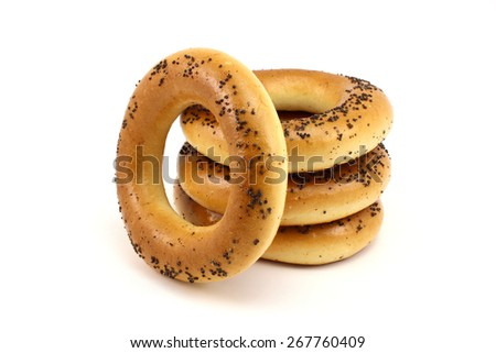 Russian poppy bagels on a white background - stock photo