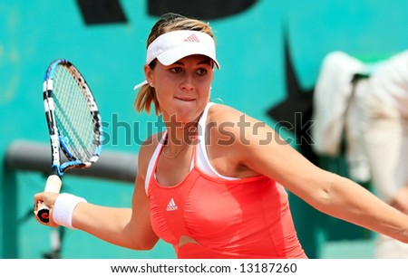 Russian professional tennis player and junior world number one Anastasia Pavlyuchenkova in action during her match at French Open, Roland Garros. Paris, France. May 2008. - stock photo