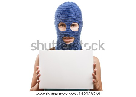 Russian protest movement concept - woman wearing balaclava or mask on head holding blank white card in hands white isolated - stock photo