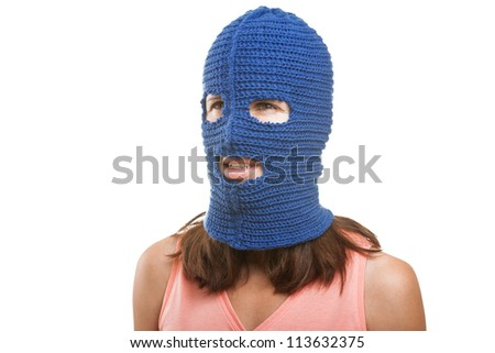 Russian protest movement concept - woman wearing balaclava or mask on head white isolated - stock photo