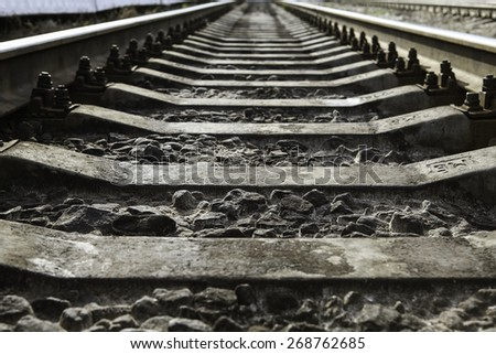 Russian Railway Tracks  go to infinity - stock photo