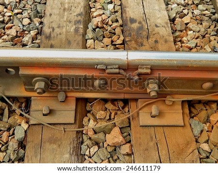 Russian Railways, the joints of the iron rails. - stock photo