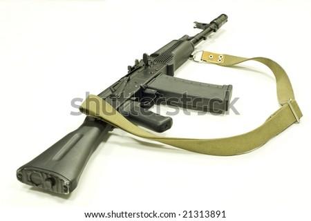 Russian rifle Kalashnikov ak47 modification - Saiga, close-up, objekt isolated over a white background - stock photo