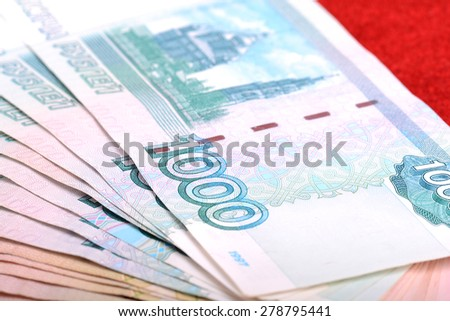 Russian rouble bills composition, different banknotes - stock photo