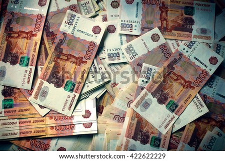 Russian roubles banknotes background. - stock photo