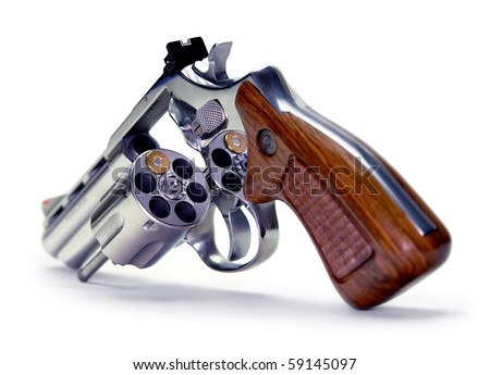 Russian roulette with the bullet out. Concept of play, risking his own life. - stock photo