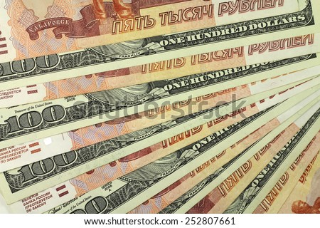 Russian rubles and dollars abstract background