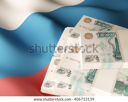 Russian rubles banknote bundles on textile textured Russia flag. 3d illustration.