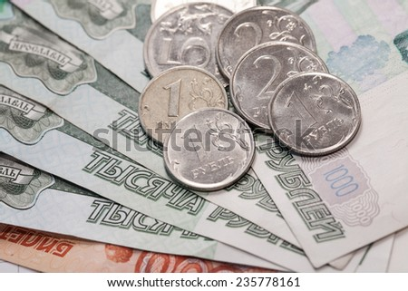 Russian rubles, coins and banknotes - stock photo