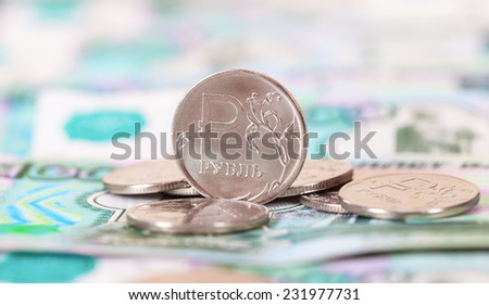 Russian rubles coins and banknotes close up - stock photo