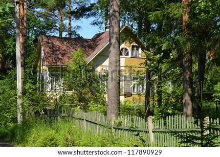 Russian rural house in Leningrad Region, Russia - stock photo