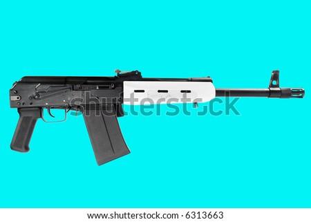 "Russian ""Saiga"" carbine. Isolated on azure. - stock photo"