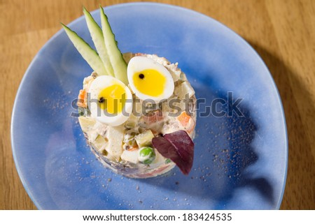Russian Salad. for kids - stock photo