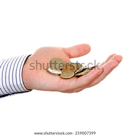 Russian Small Change in Hand Isolated on the white background - stock photo