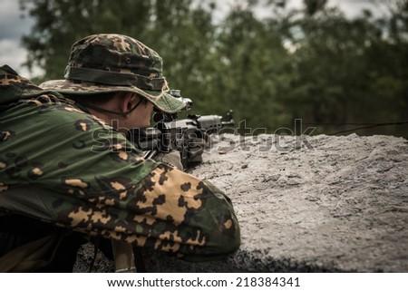 Russian sniper - rear view - stock photo