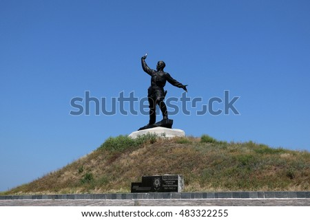 Russian soldier monument to the defender of the Motherland