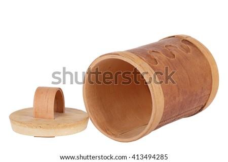 Russian souvenir - birch bark box, isolated on white background - stock photo