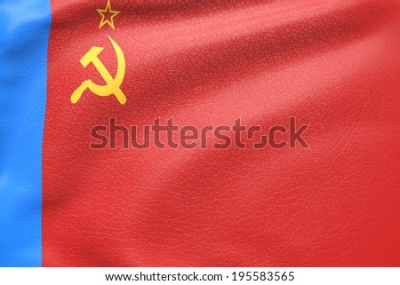 russian soviet socialist republic flag textured by leather - stock photo
