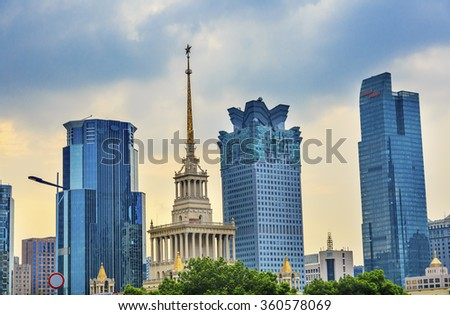 Russian Soviet Style Shanghai Exhibition Center Modern Skyscrapers Puxi Shanghai China.  Built in 1954 by Soviet Union as Friendship Center - stock photo