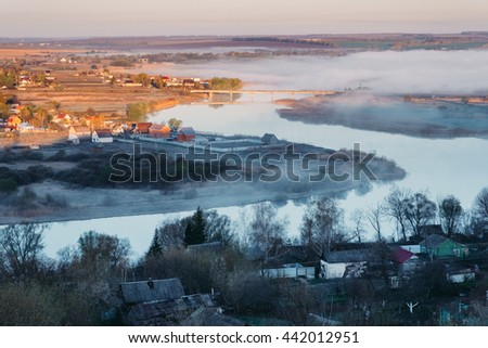 Russian spring landscape at the early morning. - stock photo